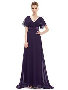 dfb86d24f89 Ever-Pretty Robe de Soiree en Double V-col et Manches Courtes 42 Violet
