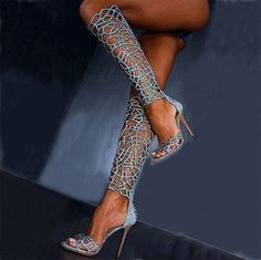 Hot Cut-Outs Knee High Blue Stiletto Dress Sandals From The Plus Size Fashion Community At www.VintageAndCurvy.com