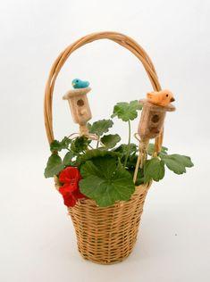 Plant ornament, Bird and birdhouse, Potted plant decorations, Plant stake, Floral decor, Needle felt décor, Home ornament, Summer decor