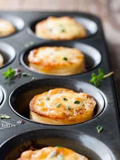 Mini Potato Gratin Stacks - great party food, breakfast with eggs or as a side for a fancy dinner. Made in a muffin tin! www.recipetineats.com