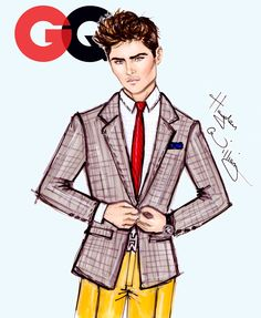 CELEBRITIES ☆ The GQ Collection - Zac Efron - Illustration by Hayden Williams