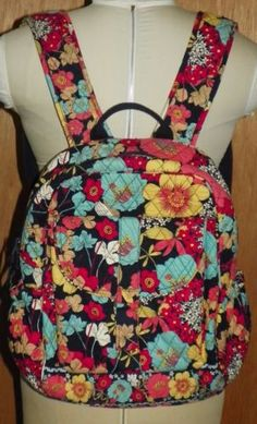 Vera Bradley Campus Backpack Happy Snails Floral Quilted Bag Purse 15 X 15  X 5 b2ccaea1deb93