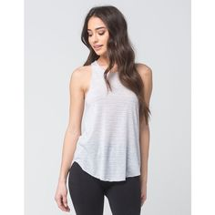 Hurley Staple Womens Tank ($25) ❤ liked on Polyvore featuring tops, high neck tank, hurley tank, metallic tank top, metallic tank and hurley tank tops