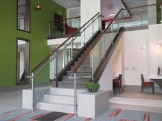 A glass staircase can quickly become a visual centerpiece in a home or a business. Sleek, modern and safe, our glass staircases dazzle the eye. Commercial Stairs, Stainless Steel Staircase, Staircase Design, Stair Design, Glass Stairs, Contemporary Stairs, Glass Balustrade, Interior Decorating, Interior Design