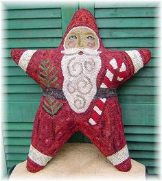 The Country Cupboard Santa is a Star Hooked Rug Hooking Pillow Pattern Christmas Decor on Etsy, $7.52 CAD