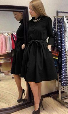 Women's Casual Long Sleeve Lapel Elegant Dress