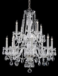 Clearance Crystorama #5047-CH-CL-MWP Traditional Crystal 12 Light Clear Crystal Chrome Chandelier IV  Clearance Crystal Chandeliers & Sconces - Brand Lighting Discount Lighting - Call Brand Lighting Sales 800-585-1285 to ask for your best price!