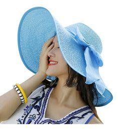 9f7e357e54c Women Floppy Hat Big Bowknot Straw Hat Wide Brim Beach Hat Sun Hat Sky Blue  CL17YDYDLGU