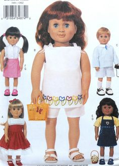 "18"" Doll Clothes Sewing Pattern -SUMMER!"