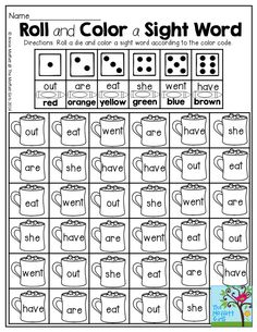 Roll and Color a Sight Word- Such a FUN way to practice sight words! There are TONS more ways to keep children engaged and entertained in the NO PREP Packets for January!