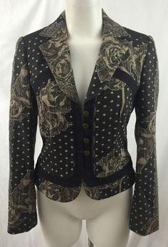 Acorn Womans Size 6 Brown Polka Dot Floral Button Close Crop Jacket Blazer Lined…