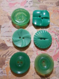 Vintage Grass Green Button Collection of 6 by OohLaLaButtons