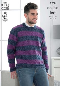 Buy from an unmatchable range of knitting patterns for men. Deramores makes it easy for you to track down the perfect men's knit at the click of a button! Hand Knitting, Knitting Patterns, Jumper, Men Sweater, King Cole, Hand Knitted Sweaters, Perfect Man, Cable Knit, Fathers Day Gifts