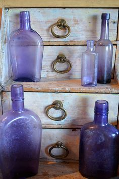 Spring comes to Giannetti Home!  Amethyst bottles...