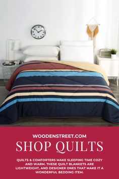 Quilts & Comforters make sleeping time cozy and warm. These quilt blankets are lightweight, and designer ones that make it a wonderful bedding item for the room decors of contemporary times. The quilts and comforters online are patterned in beautiful floral as well as simple looks to cater to your needs. Browse through the fresh arrivals of bed comforters available on WoodenStreet at best prices. Comforters Online, Quilts Online, Wooden Street, Single Quilt, Queen Size Quilt, Cotton Quilts, The Fresh, Bedroom Furniture, Blankets