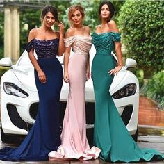2016 New Arrival Dubai Arabic Style Sequins Off Shoulder Mermaid Evening Formal Party Dresses Wear Navy Green Pink Prom Dresses Plus Size Evening Dresses Summer Dresses From Gaogao8899, $96.13| Dhgate.Com