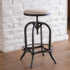 $144 Industrial Design Adjustable Height Swivel Bar Stool In Black w/ Beige Seat #GreatDealFurniture #Industrial