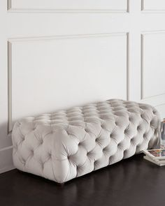 Grace Tufted Bench. Details * Handcrafted bench. * Pine frame. * Polyester upholstery with polyurethane/polyester fill.