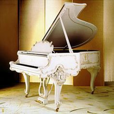 "beautifulll white baby grand piano from steinway and sons. ""It will be mine. Oh yes, it will be mine"" i just fell in love with a piano Piano Y Violin, Piano Room, Piano Music, Piano Bar, Sheet Music, French Furniture, Retro Furniture, Antique Furniture, Sound Of Music"