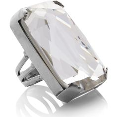 Marc Jacobs Large Rectangle Stone Cocktail Ring (£90) ❤ liked on Polyvore featuring jewelry, rings, silver, stone ring, marc jacobs jewellery, statement rings, clear stone ring and marc jacobs ring