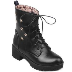 Lace-Up Chunky Heel Star Embellished Combat Boots Cheap Shoes Online, Boots Online, Mens Fashion Shoes, Fashion Boots, Lace Up Shoes, Cute Shoes, Cool Shoes For Women, Wholesale Shoes, Toe Shape