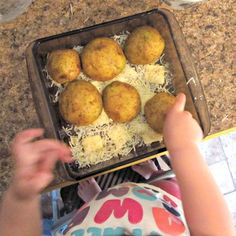Kids in the Kitchen: Parmesan Garlic Baked Potatoes, going to do with less butter or some olive oil instead to make healthy