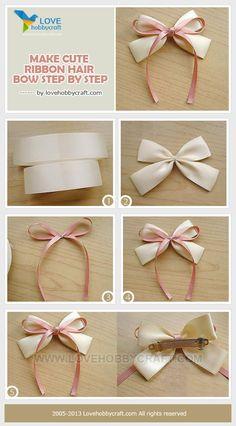 Make cute ribbon hair bow step by step