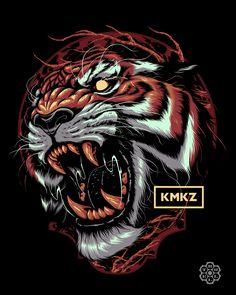 Kamikazee PH on Behance Tiger Illustration, Japon Illustration, Graphic Design Illustration, Japanese Dragon Tattoos, Japanese Tattoo Art, Japanese Tiger Art, Tiger Tattoo Design, Tattoo Designs, Animal Tattoos