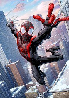 Miles Spiderman, Spiderman Art, Miles Morales, Black Cartoon Characters, Marvel Characters, Marvel Art, Marvel Heroes, Comic Books Art, Comic Art