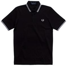 Based on their original slim fit Fred Perry polo, this Japan-made shirt meets the highest standards in Japanese manufacturing. Designed in a fine-cotton piqué with a neat collar and collar stand in black and embroidered with their Laurel Wreat Fred Perry Polo, Laurel Wreath, Pique Polo Shirt, Twin, Japanese, Black And White, Guys, Cotton, Mens Tops
