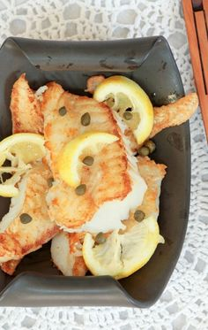 Fish Recipes Simple & Quick - Crispy Cod with Lemon, Butter & White Wine Sauce - Low Calorie, Low Fat, Healthy Dinner Cod Recipes, Low Carb Recipes, Low Fat Dinner Recipes, Cooking Recipes, Healthy Recipes, Fish Dishes, Seafood Dishes, Fish And Seafood, Seafood Recipes
