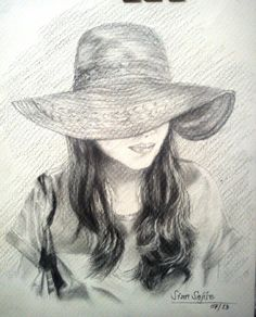 The Lady in the Hat - Sketching by Sian Sajise in MiXed MEdiA at touchtalent