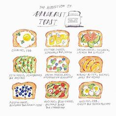 Homemade breakfast toast illustration here! Cute Food, Good Food, Yummy Food, Tasty, Breakfast Toast, Breakfast Recipes, Homemade Breakfast, Vegetarian Breakfast, Dessert Recipes