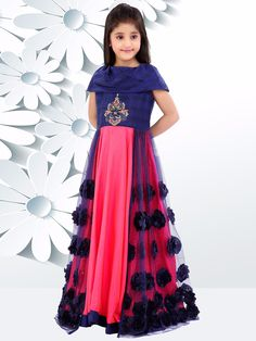 Shop Navy pink double layered gown online from India. Kids Frocks, Frocks For Girls, Gowns For Girls, Dresses Kids Girl, Cute Dresses, Kids Outfits, Kids Lehenga, Kids Gown, Frock Design