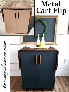 Kammy's Korner: The Metal Cart Makeover. Wood top and classy black bottom with gold handles Decor Style Home Decor Style Decor Tips Maintenance Metal Cart, Homemade Chalk Paint, Marble Wood, Perfect Day, Black Cabinets, Wood Cutting Boards, Furniture Makeover, Refinished Furniture, Wooden Handles