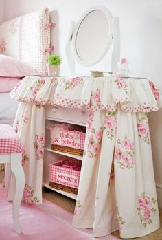 Sweet Shabby Cottage Chic bedroom vanity, with bunches of pink and green roses!