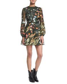 Floral Silk Organza Long-Sleeve Dress, Cypress