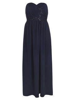 8d657140b57   Showcase Curve Navy bandeau embroidered maxi dress Debenhams