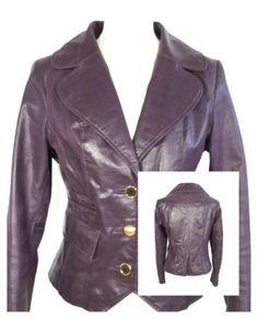 Paars leren jasje blazer, maat XL 46/48. Tante Twiggy Shop <3 www.marktplaats.nl/verkopers/20281615.html purple leather jacket lederen