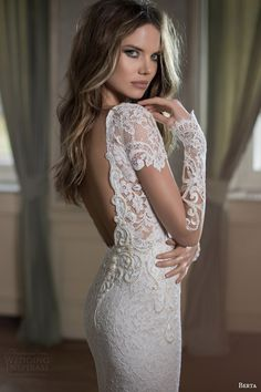 berta bridal fall 2015 illusion long sleeve high neck lace wedding dress close up bodice back view