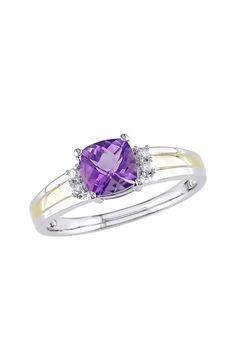 Two-Tone Cushion Amethyst & Diamond Ring