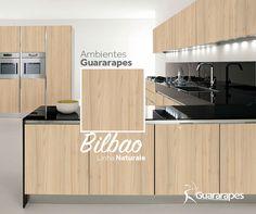 MDF Bilbao | Cozinha Bilbao | Linha Naturale | MDF Guararapes #MDF #decoraçãoMDF #decoração #DesignInteriores #padrõesMDF #homedecor #decoração #cozinha #decoraçãoemmadeira #peçasMDF
