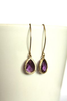 Purple Earrings Amethyst Earrings Gold Drop by DlightedJewelry, $19.00