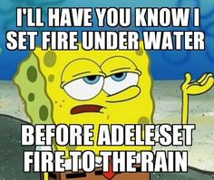oh burn that is funny I love adele I set fire to the rain watch it burn as I touch your face love it