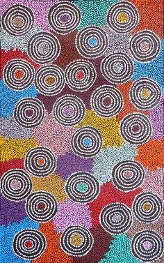 Annita Nakamarra Gibson ~ Ngapa Jukurrpa (Water Dreaming) - Pirlinyarnu, 2010-aborigine