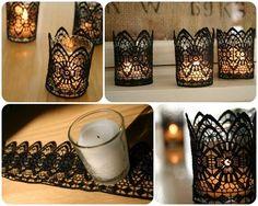 DIY - decoração de casamento - suporte para vela - preto - renda - déco de mariage - support pour bougies - dentelle - noir - Black Lace Candles. Could use any color of course. This would look great at a wedding reception!