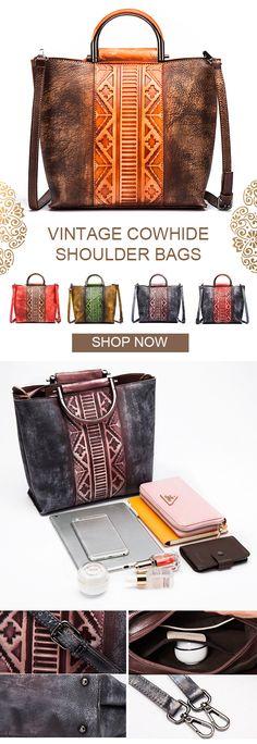 【US$102.97】Brenice Splicing Handmade Tote Handbags Vintage Cowhide Shoulder Bags #HandmadeToteBag #BagsPattern #DesignerBag #WorkToteBag #WeddingBags