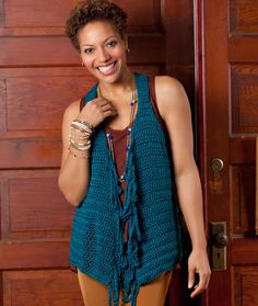 Fringe Vest - Flattering to your figure, this clever vest features long chained fringe at the front edges and over-defined armholes. It can be crocheted quickly to update the pieces already in your closet.