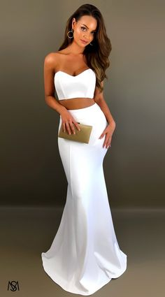 Two Piece Fitted Long Prom Dresses, Classy White Formal Graduation Party Dress Best Formal Dresses, Short Dresses, Prom Dresses, Formal Prom, Two Piece Formal Dresses, White Dress Outfit, Dress Outfits, Classy Evening Gowns, Perfect Prom Dress