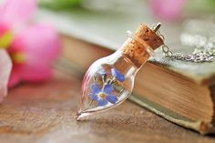 Forget me not necklace real forgetmenot by RubyRobinBoutique